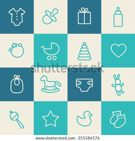 Seamless pattern. Blue, azure and cream colors. Thin line icons of baby items. Also for printing on paper and fabric.  - stock vector