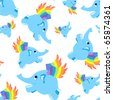 Seamless pattern blue flying elephant. Vector background. - stock photo