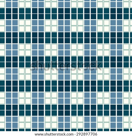 Seamless pattern blue geometric square tiles vector background