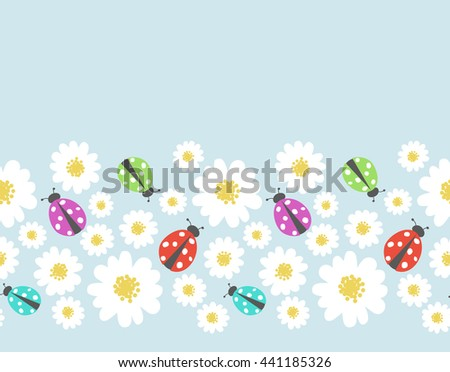 Seamless pattern border with flower,  ladybug - stock vector