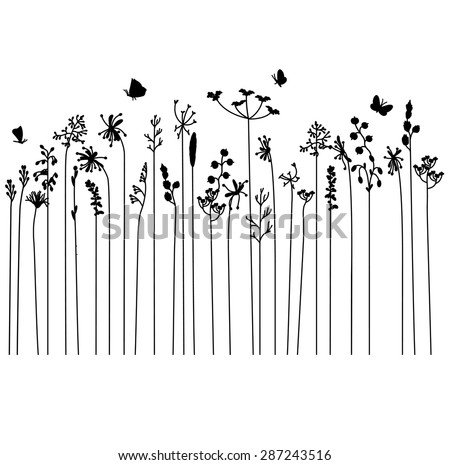 Seamless pattern brush with stylized summer flowers. Endless horizontal texture. Contour, outline.Black silhouette. - stock vector