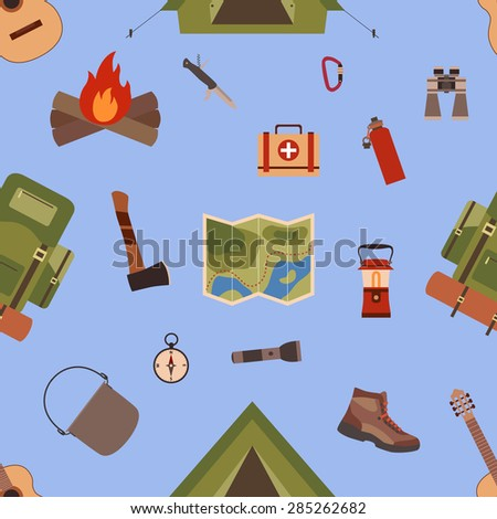 Seamless pattern camping equipment symbols and icons made in vector