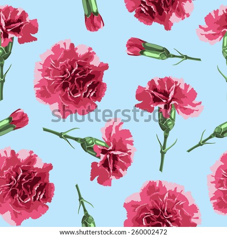 Seamless pattern carnations flowers. Floral background, wallpaper,  wrapping, packing paper. Elegance pattern with realistic red flowers. Vintage vector illustration, eps 10 - stock vector