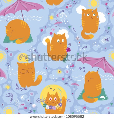 Seamless Pattern - Cats And Summer Vacation - stock vector