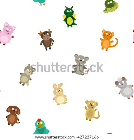 Seamless pattern chinese zodiac signs for your design - stock vector