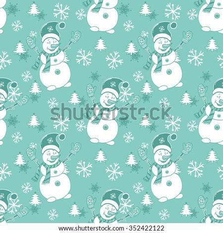 seamless pattern Christmas cartoon snowmen on blue background. - stock vector