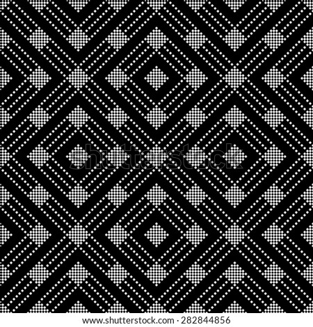 Seamless pattern. Classical geometric texture with small squares, rhombuses, stripes. Repeating diamonds. Vector background. Monochrome. Backdrop. Web. Vector illustration for your design - stock vector