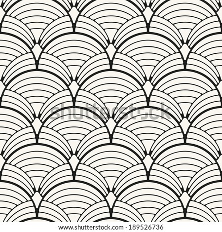 Seamless pattern. Classical ornament. Geometric stylish background. Vector repeating texture. Stylized shells