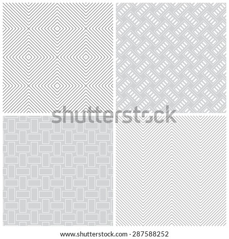 Seamless pattern. Collection of four stylish textures. Regularly repeating geometric shapes, rhombuses, diamonds, rectangles, zigzags. Monochrome. Backdrop. Web. Vector element of graphic design - stock vector