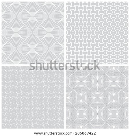 Seamless pattern. Collection of four stylish textures. Regularly repeating geometric shapes, dots, arches, waves, oval elements, semicircles.  Monochrome. Backdrop. Web. Vector element