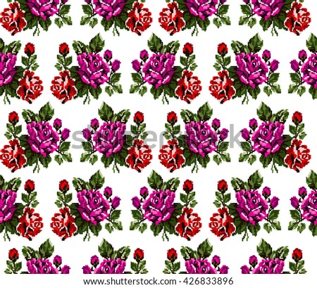 Seamless. Pattern. Color bouquet of flowers roses  using traditional Ukrainian embroidery elements. Can be used as pixel-art, card, emblem, icon. Red, pink and green tones. - stock vector