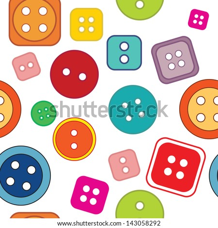 Seamless pattern: colored buttons on a white background - stock vector