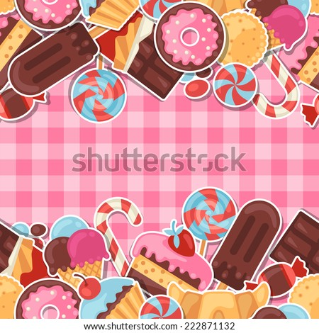 Seamless pattern colorful sticker candy, sweets and cakes. - stock vector