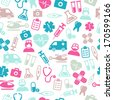 Seamless pattern composed from icons representing medical topics and health care. - stock