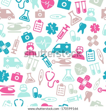 Seamless pattern composed from icons representing medical topics and health care. - stock vector