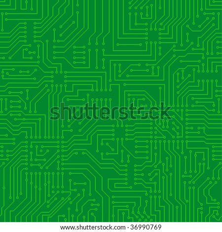 Seamless pattern. Computer circuit board. - stock vector
