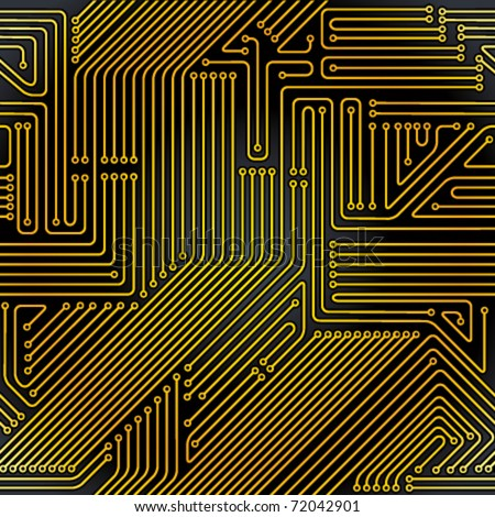 Seamless pattern. Computer circuit board. Electronic technology vector background. - stock vector