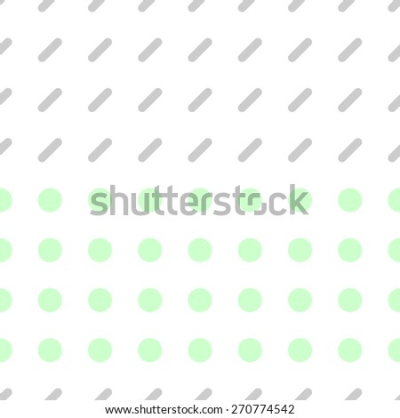 Seamless pattern consisting of a circle and a rectangle with rounded edges on a white background gray and pale green - stock vector
