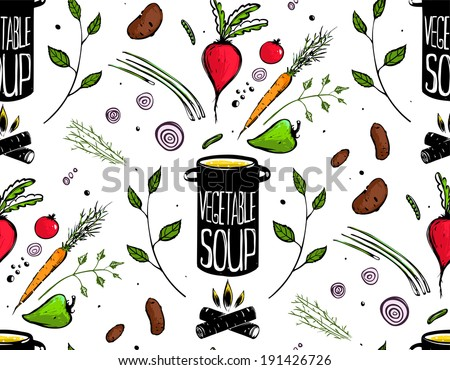 Seamless Pattern Cooking Vegetable Soup. Food tileable decorative background illustration. Vector EPS8 - stock vector