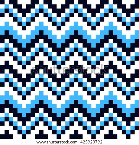 seamless pattern cubic blue, white and black squares - stock vector