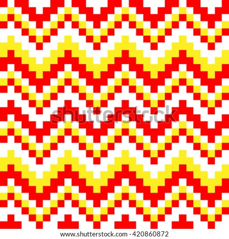 seamless pattern cubic red, white and yellow squares - stock vector