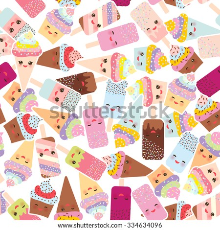 seamless pattern cupcakes with cream, ice cream in waffle cones, ice lolly,  Kawaii with pink cheeks and winking eyes, pastel colors on white background. Vector - stock vector