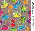 Seamless pattern - Cute dinosaurs - stock photo
