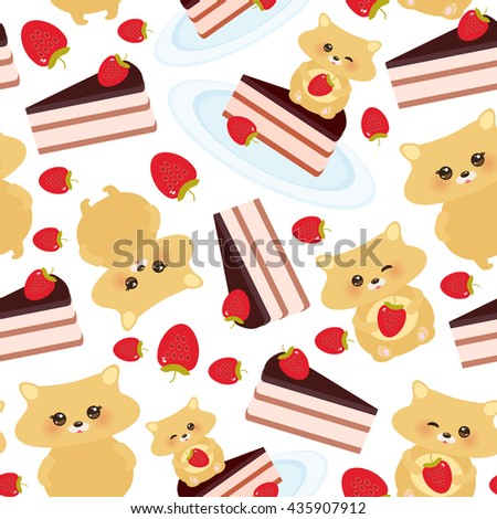 seamless pattern cute kawaii hamster with fresh Strawberry, cake decorated pink cream and chocolate icing, piece of cake on the blue plate, pastel colors on white background design. Vector - stock vector