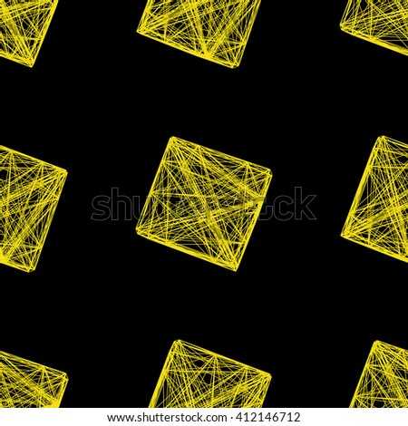 Seamless pattern 3D cube of interwoven lines yellow, network, vector illustration on isolated black background - stock vector