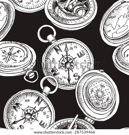Seamless pattern depicting different vintage pirate compass with cap. Vector black and white illustration.