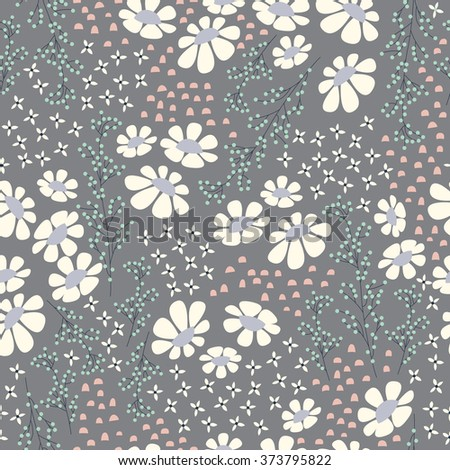 Seamless pattern design with hand drawn flowers and floral elements, vector illustration - stock vector