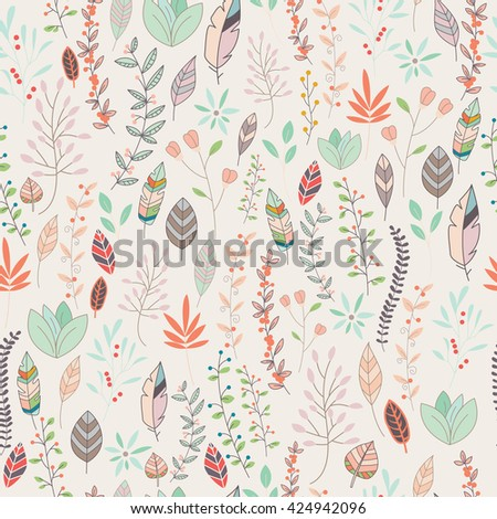Seamless pattern design with hand drawn flowers, floral elements and feathers, vector illustration - stock vector