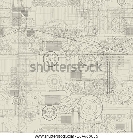 Seamless pattern design with industrial vehicles  - stock vector