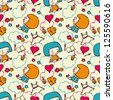Seamless pattern - dolls and different things - stock