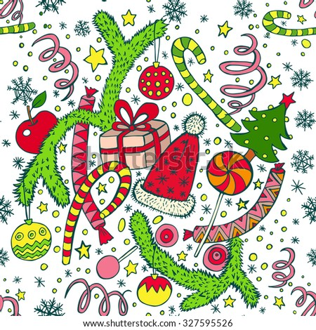 Seamless pattern. Doodle ornament. Vector illustration. 2016 New year collection. Colorful.