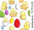 Seamless pattern - Easter eggs and chicks - stock photo