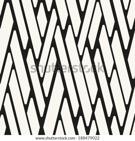Seamless pattern. Endless stylish texture. Monochrome background. Linear interlacing - stock vector
