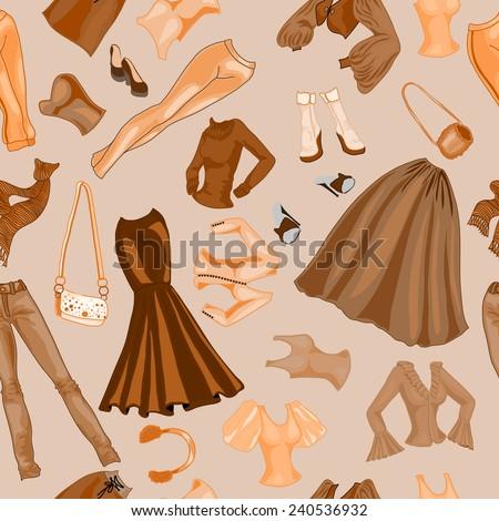 Seamless pattern fashion dress. - stock vector