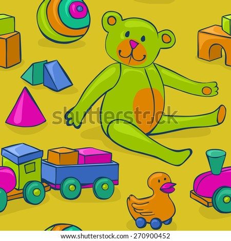 seamless pattern featuring colorful, cute, classic kids toys - teddy bear, duck on wheels, building blocks, ball and wooden train - stock vector
