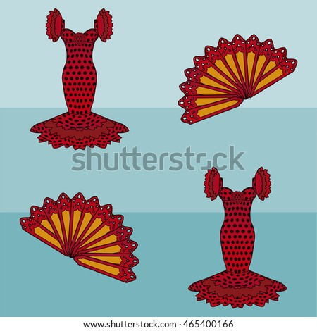 Seamless pattern flamenco style, vector illustration