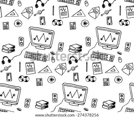 Seamless pattern, flat design vector illustration of modern workspace, computer desk, freehand pencil - stock vector