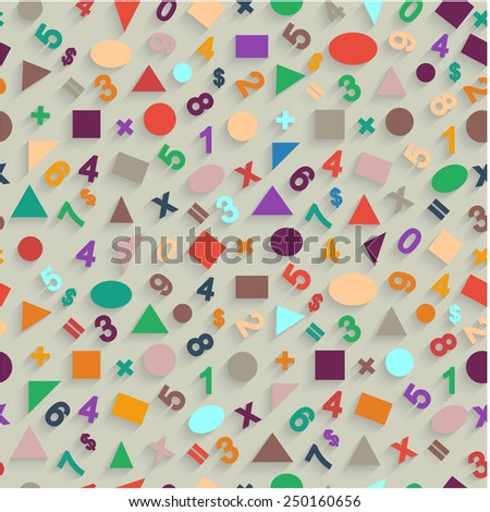 Seamless pattern flat vector of geometric shapes and figures. - stock vector