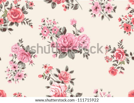 seamless pattern, floral pattern,rose flowers,romantic - stock vector
