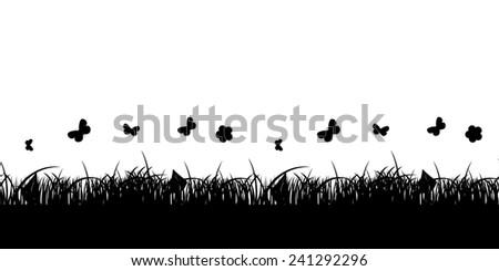 Seamless Pattern Flower and Grass Banner. Vector Illustration. EPS10 - stock vector