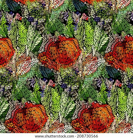 Seamless pattern -  flower background.Vector illustration. - stock vector