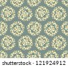 Seamless pattern flowers lily, vector ornamental background in vintage style - stock