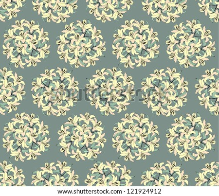 Seamless pattern flowers lily, vector ornamental background in vintage style