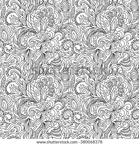 Seamless Pattern Coloring Book Ethnic Floral Stock Vector