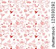 Seamless pattern for valentine's day with cupid, coattail, bow, butterflies, hearts, pigeons, etc - stock vector