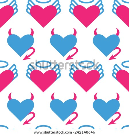 Seamless pattern for Valentine's day with vector icon - angel and devil hearts - stock vector